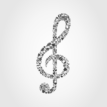Musical key made of music subjects. A vector illustration Иллюстрация