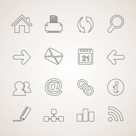 calendar icon: Set of outline icons. Vector illustration