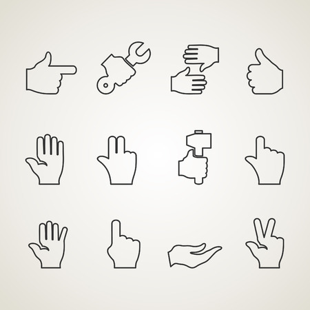 hand outline: Set of outline icons hand. Vector illustration