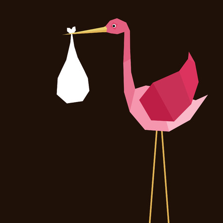 blanket: The pink stork bears the child. A vector illustration