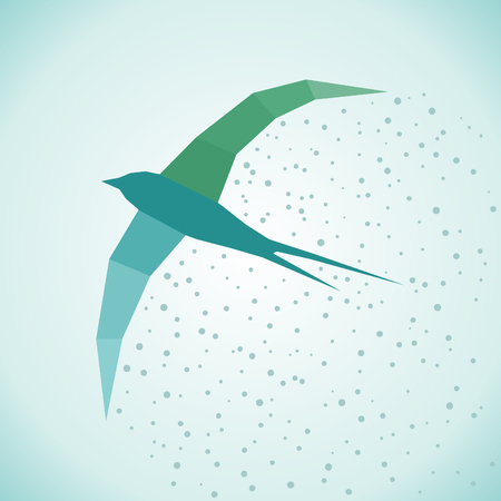 bird flying: Flying bird Seagull in the style of patchwork. Vector illustration Illustration