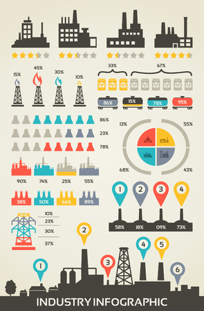 coal fire: A set of infographics on the subject industry. Vector illustration