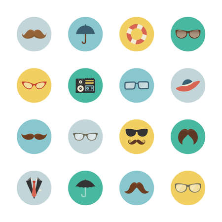 Icon set mustache and glasses. Vector illustration
