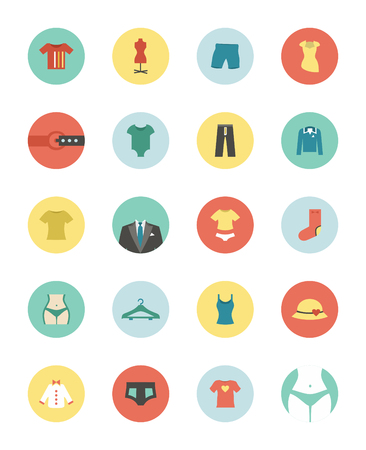 cowards: Set of flat icons on a theme clothes. Vector illustration Illustration