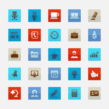 lady clock: Set of icons on a theme office. Vector illustration Illustration
