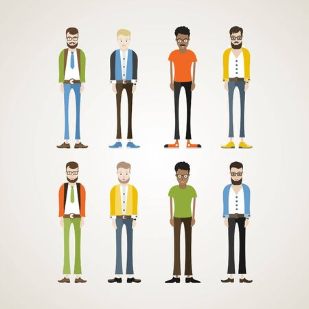 persons: Male cartoon characters. Vector illustration