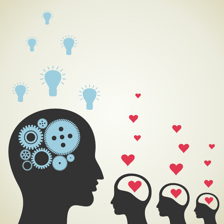 enamoured: The ideological brain is more than enamoured. A vector illustration Illustration