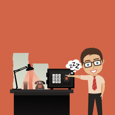 paper fastener: The person at office opens the safe. A vector illustration Illustration