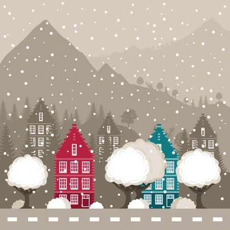 headwaters: Winter city in mountains. A vector illustration