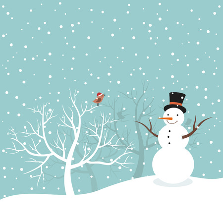 awe: Snowman on winter background.