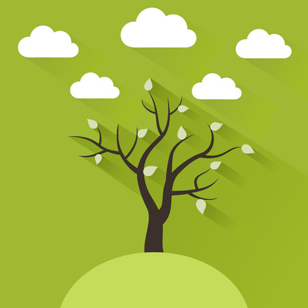 oak wood: The spring tree in flat design style.