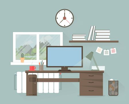office windows: The businessman behind a table at office. A vector illustration