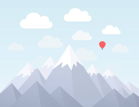 headwaters: Mountains in a flat style. Vector illustration