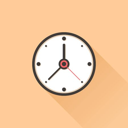 The clock icon in flat style. Vector illustration