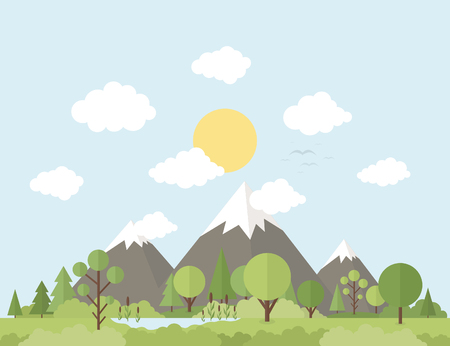 headwaters: Nature and mountains in a flat style. Vector illustration