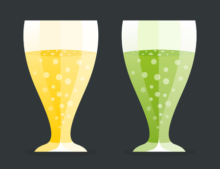 alcoholic beverage: Two glass of alcoholic beverage. Vector illustration Illustration
