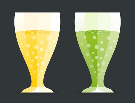 alcoholic beverage: Two glass of alcoholic beverage. Vector illustration Illustration