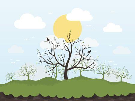 autumn tree: Spring tree and birds Illustration