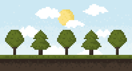 oak wood: Forest and sky in pixel art style. Illustration