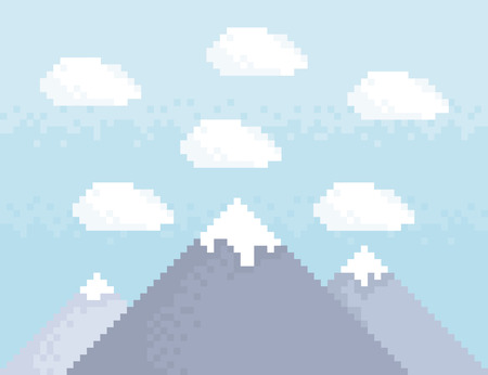 headwaters: Mountain pixel art style illustration