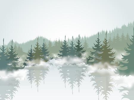 jezior: Las i jezioro górskie Ilustracja