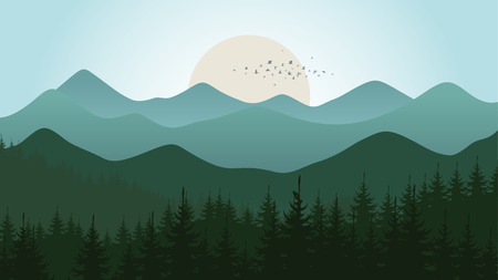 headwaters: Forest and mountain landscape Illustration
