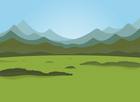 sunrise mountain: Field and forest field Illustration