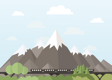 headwaters: Train rides in the mountains illustration