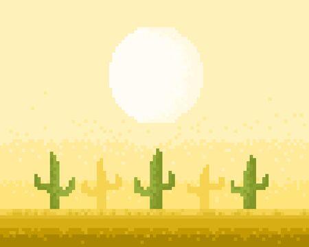 deserts: Desert pixel art style illustration