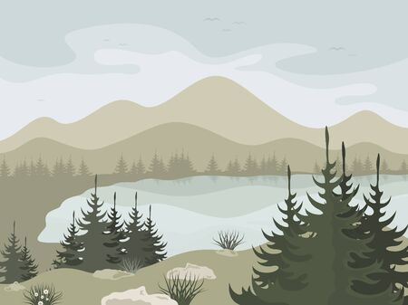 headwaters: Forest and mountain lake illustration