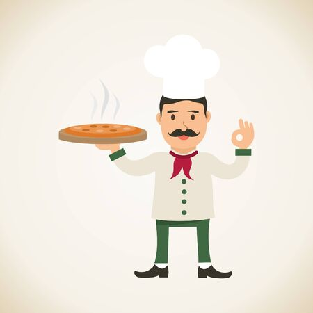 chef italiano: chef italiano con la pizza Vectores