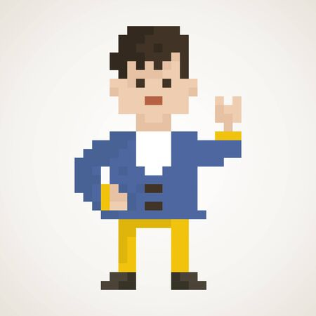 sales manager: The guy in the style of pixel art.
