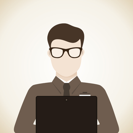 sales manager: Man with laptop. Illustration