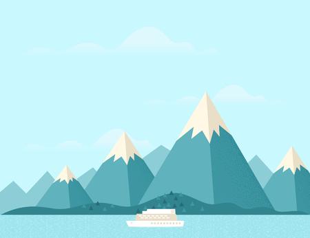 Parowiec z górami w tle.
