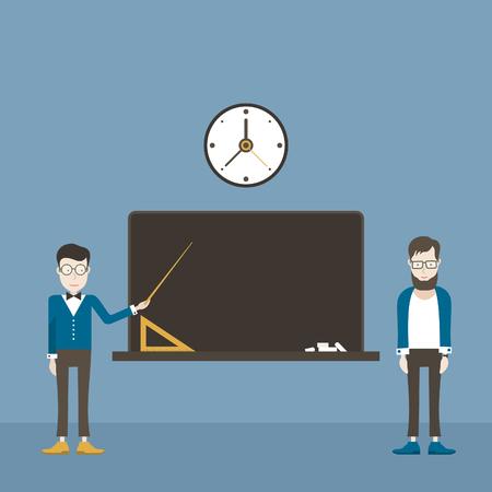 teaches: The teacher teaches the hipster. Illustration