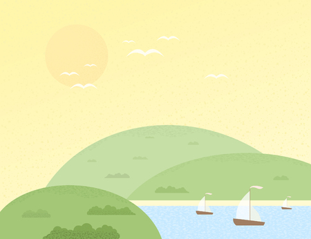 headwaters: Yachts and green hills in the summer.