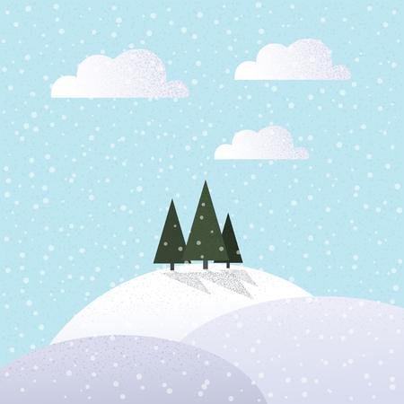 pine three: Three pine trees in the winter.