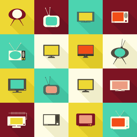 mouth screen: Set of TV icons in the flat style. Vector illustration