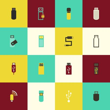 microdrive: A set of usb icons in the flat style. Vector illustration