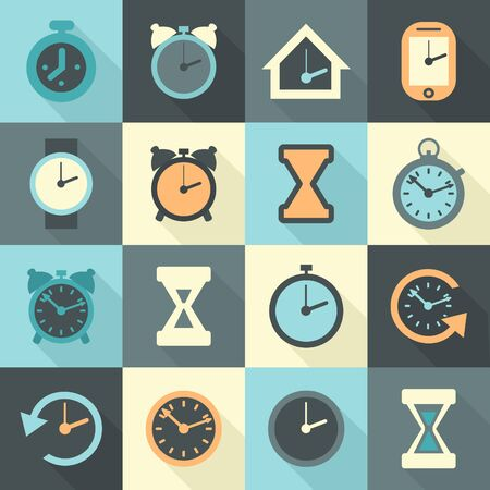 readout: Clocks icons set in flat style. Vector illustration
