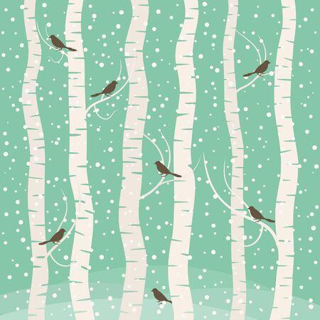 Birds on the tree. Vector illustration