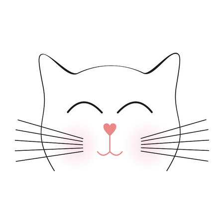 domestic cat: The face of the cat. Vector illustration Illustration