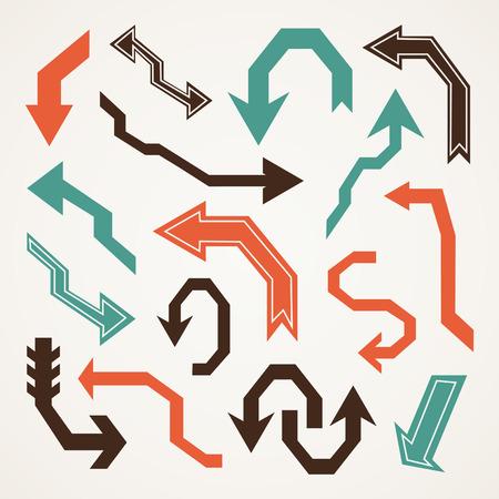 Set of arrows in retro style. Vector illustration Illustration
