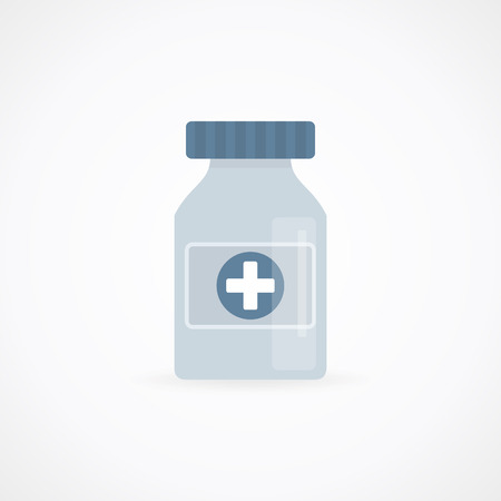pain scale: A bottle of medicine. Vector illustration