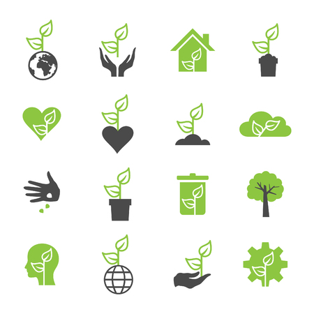 eco icon: Icons set of plants. Vector illustration