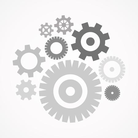 acero: juego de engranajes gris. ilustración vectorial