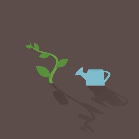 macro leaf: The plant and watering. Vector illustration