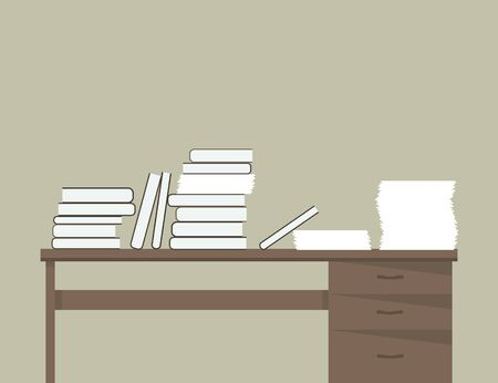 business shirts: Books and paper on the table. Vector illustration