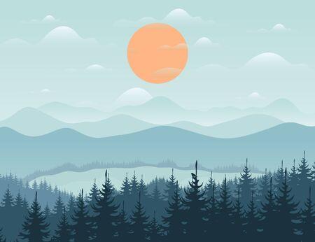 Forest and mountain landscape. Vector illustration Illustration