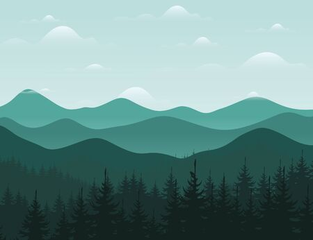 headwaters: Forest and mountain landscape. Vector illustration Illustration